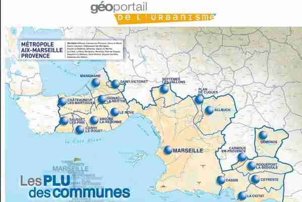 carte interactive des PLU autour de Marseille